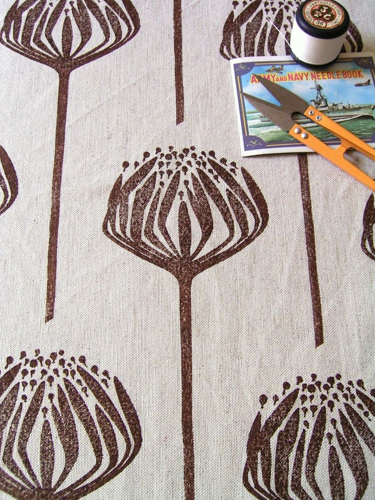 Hand printed fabric Brown Proteas on linen by HenriKuikens