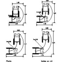 Discapacitados giro de silla de ruedas dwg dibujo de for Medidas minimas de una oficina