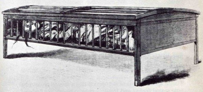 Victorian treatment for mental patients. Often women were diagnosed as hysterical (anything from depression to anxiety) & placed in these cages. Any patient who was just upset in general were locked in these cages. Like farm factory animals, there was no room to bend the legs, sit up or move. Cruel treatment....If you weren't insane when they put you into this contraption, you soon would be.