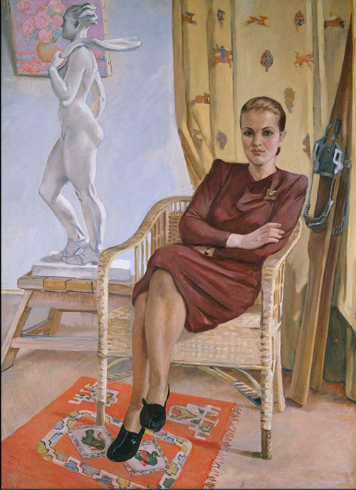 Alexander Deineka / Aleksandr Deyneka / Алекса́ндр Алекса́ндрович Дейне́ка (1899-1969), Portrait of architect Tamary Milešinoj, 1955