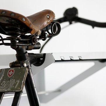 Bike Shelf in White // Powdered Steel, Alumn. Crossbar and Locking Mechanism // Pedersen + Lennard