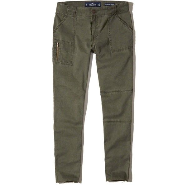 Hollister Low-Rise Crop Super Skinny Pants (1.475 RUB) via Polyvore featuring pants, capris, olive, cropped trousers, zipper pocket pants, olive skinny pants, skinny leg pants и military green pants