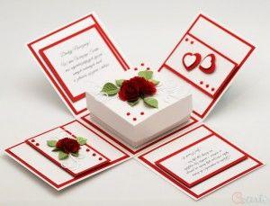Kartka Ślubna pudełko zakochane gołąbki