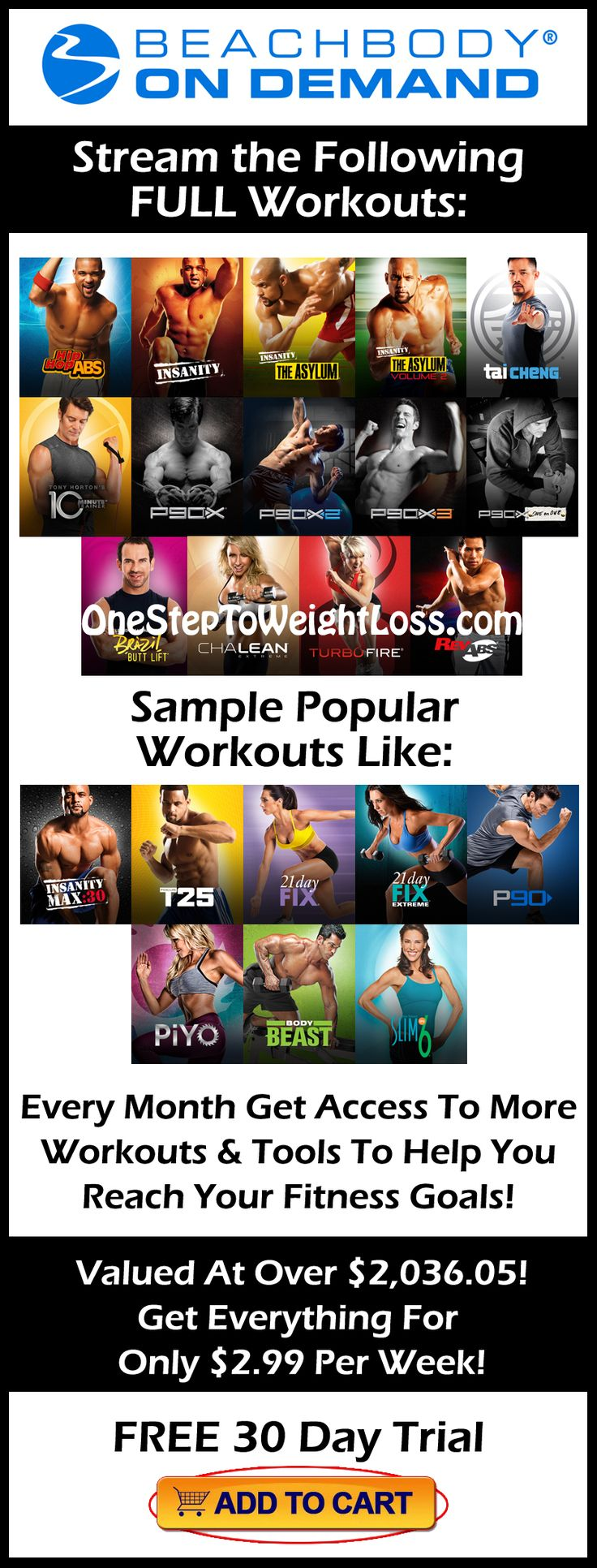 Beachbody on Demand offers full workout programs, sample workouts, nutrition guides, recipes, and much more to help you lose weight! Check it out here: http://www.tipstoloseweightblog.com/weight-loss/stream-full-workouts-online-beachbody-on-demand