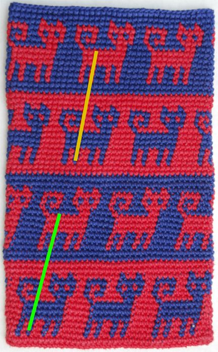 Tapestry Crochet- Less slant and sharper color transition.  Just pinning for bead loom pattern idea