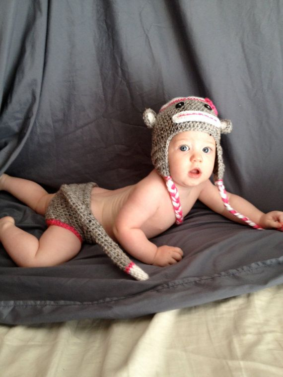 PDF Monkey Hat and Diaper Cover Crochet Pattern  hat all by BizeeB, $4.95