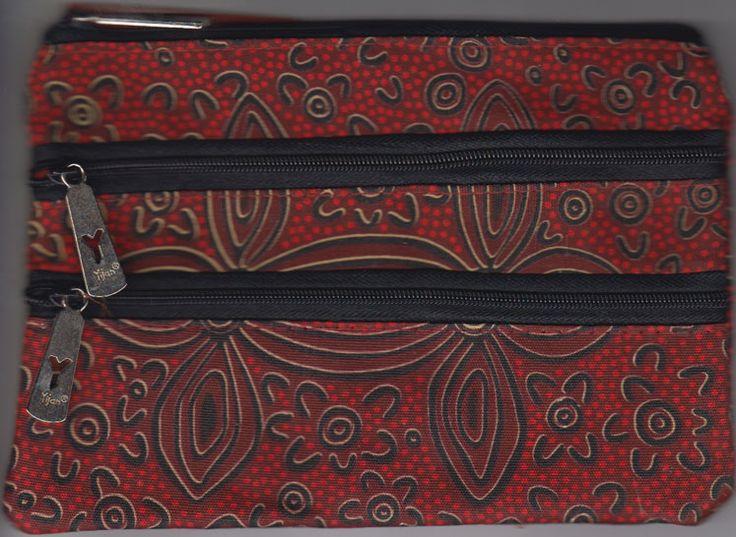Yijan 3Z Cosmetic Bag Women's Ceremony Yuelamu (Red) Artist: Maureen Hudson Nampajimpa Code: YI-COS-3Z-17Red Price: $14.00 or 2 for $26.00