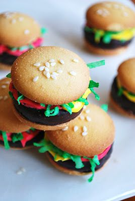 Hamburger cookies!  I definitely brought these to school for a treat as a little girl :)