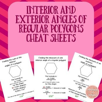 These reference sheets show the formula and steps to find the interior and exterior angles of polygons. These are great for math remediation, special education, test prep, notes. Includes free sample of Interior