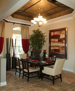 Asian-themed dining room by Austin interior design firm Draco Designs.