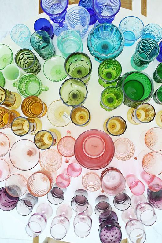 Collections of glasses that have no order but so much colour. #InteriorDesign #TheJewelleryEditorLoves