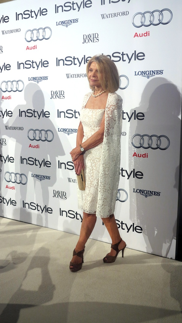 Nominee Carla Zampatti arrives on the white carpet.