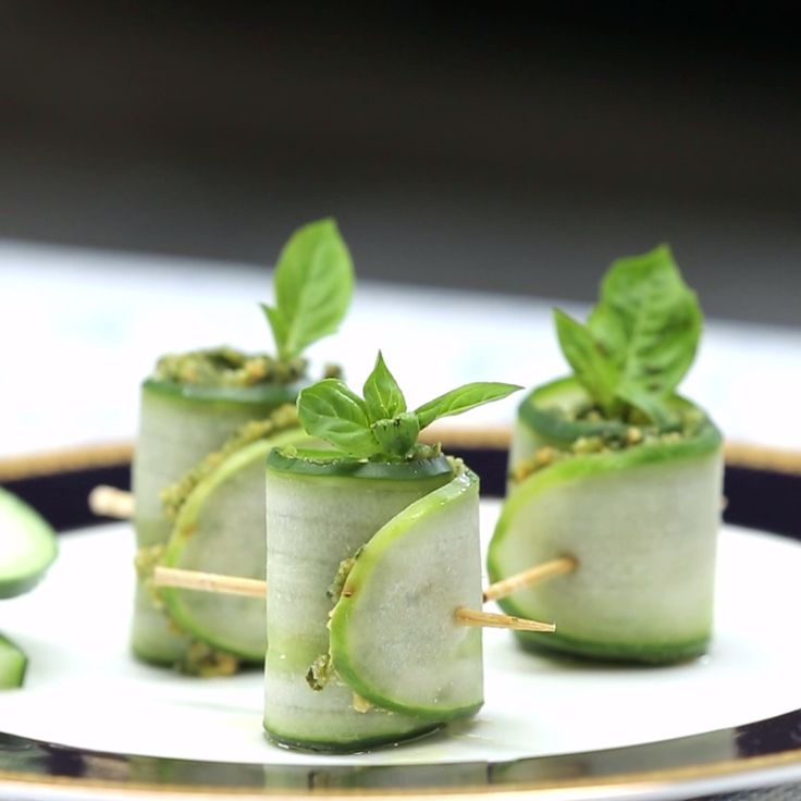 Pesto cucumber rolls make for the perfect light and refreshing snack.