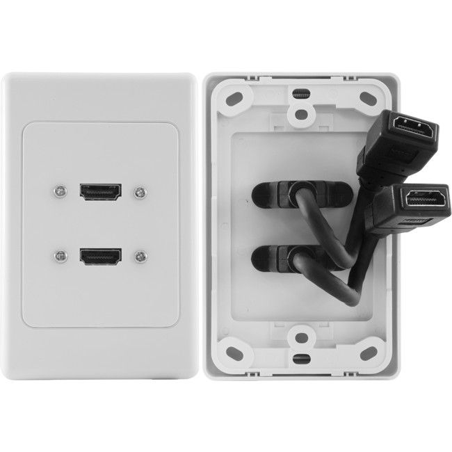 Double HDMI Wall Plate with Dongle