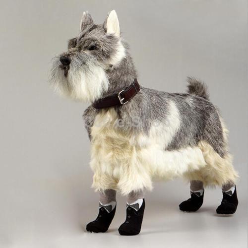 4x-Bowknot-Nero-Calzini-Per-Cani-Cucciolo-Gatto-Pet-Scarpe-Calze-Antiscivolo