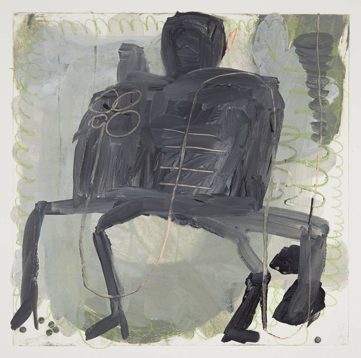 Roxanne Faber Savage - Couple on Bench | From a unique collection of mixed media at https://www.1stdibs.com/art/mixed-media/