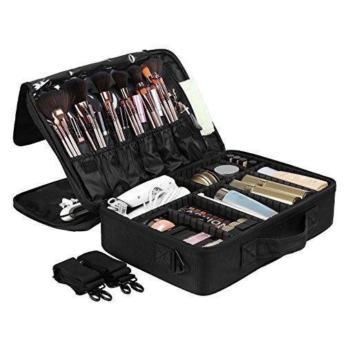Best Makeup Bag | SONGMICS Portable Makeup Train Case 3 Layer Cosmetic Travel Case with Dividers Black UMUC15B ** Check out the image by visiting the link. Note:It is Affiliate Link to Amazon. #versagram