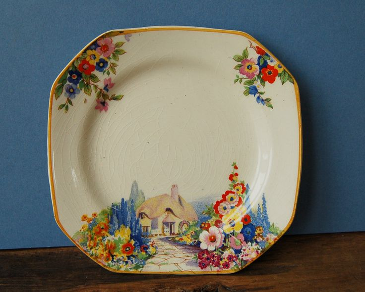 hamptons ivory old england gardens pattern sandwich plates  set of 6