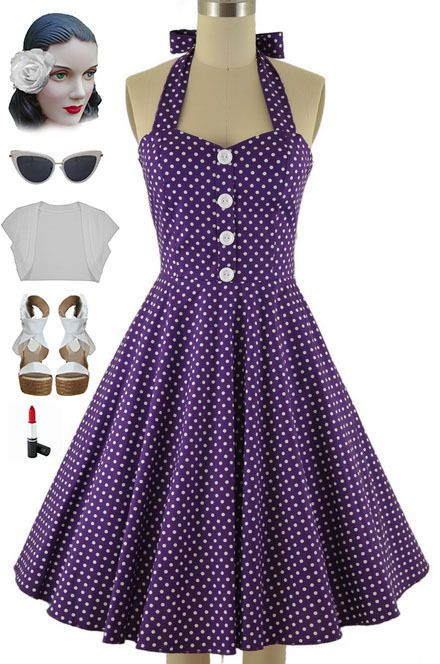 be7b90e2f5c 50S Style Plus Size Miss Mabel Purple Polka Dot Print Pinup Halter Sun Dress