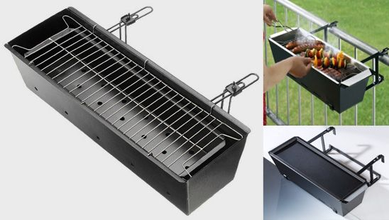 "Balcony BBQ - ""Are you used to going to the park to enjoy a barbeque? There is no need any more! After the success of the notebook BBQ we now laso offer balcony barbeque. It is ideal if you do not have a lot of space, live in a student house or do not have a garden. Moreover this BBQ hangs on the perfect height, so you do have to bend down to check that your meat hasn't burned. Balcony BBQ hangs on the inside of the balcony. Simple deisgn makes it really easy to maintain."""