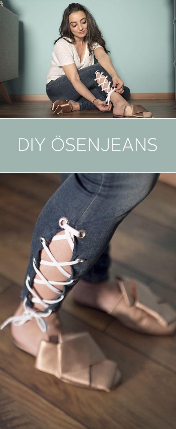 Einfach nur Jeans tragen? Da geht noch was! Eylem zeigt euch im Upcylcing DIY, wie ihr eure Jeans mit angesagten Eyelets und schönen Bändern zu einem richtig coolen Unikat pimpt! – OTTO Fashion & Lifestyle