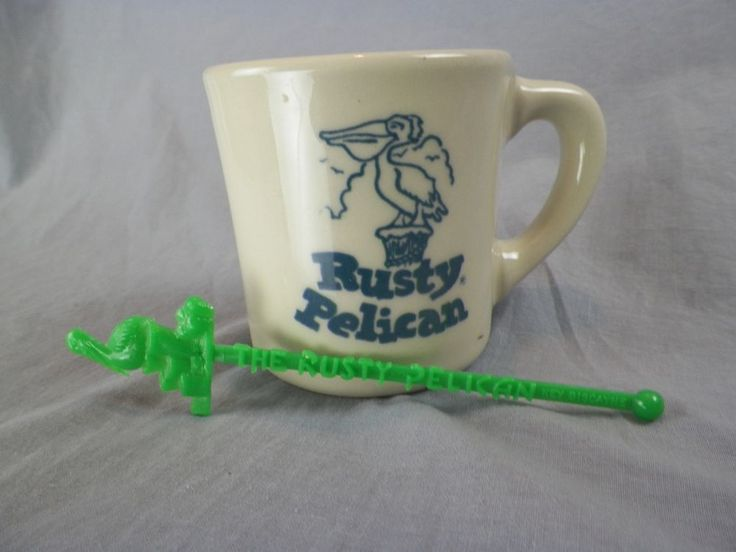 Vintage Rusty Pelican Restaurant Ware Heavy Duty Coffee Mug Made USA + Swizzle