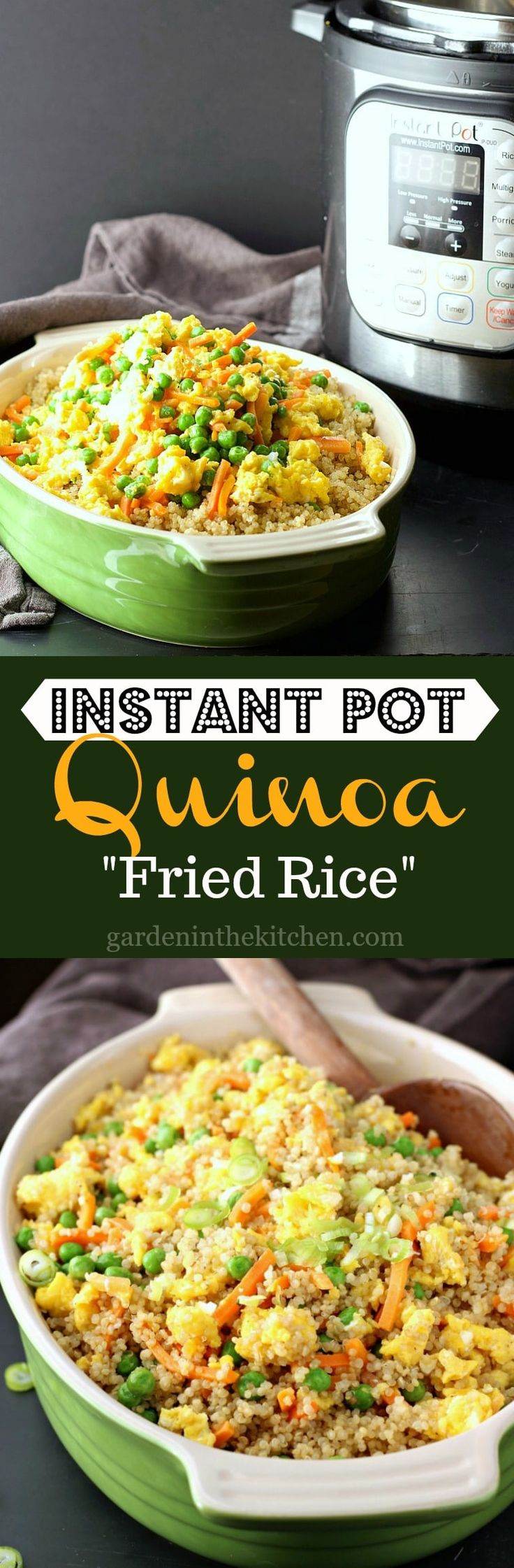 """A healthier take on the classic Vegetable Fried Rice, this Instant Pot Quinoa """"Fried Rice"""" is just as delicious and will make you feel good too!"""