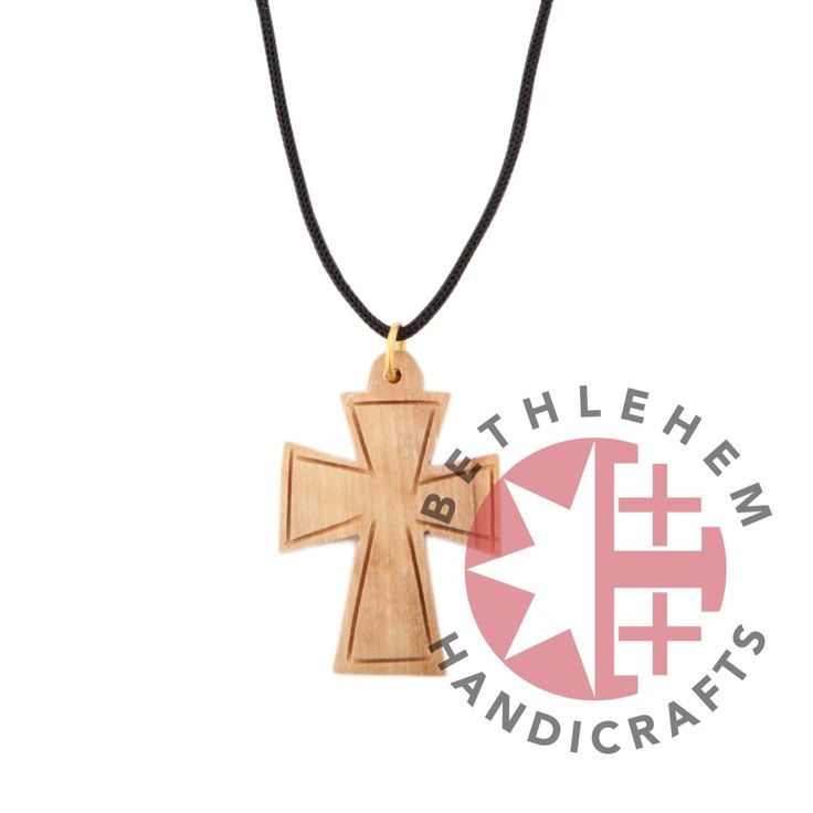 Olive Wood Cross Necklace - Most known symbol of our time crafted in Bethlehem so extraordinarily and uniquely. Made from olive wood it brings a taste of the Holy Land, while those fine lines are an expression for our faith in God. (wooden cross necklace, Jerusalem cross necklace, wood crosses, wooden crosses, handmade wooden crosses, homemade wooden crosses, hand carved wood cross, Hand carved religious crafts, handmade religious crafts, Wood carvings)