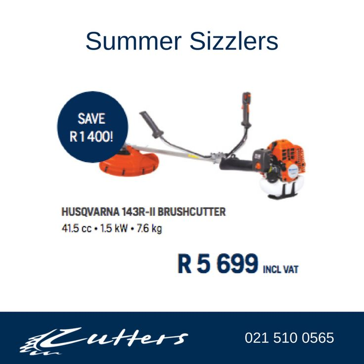 ** Summer Sizzlers ** Husqvarna 143R-II Brushcutter at R5699.00 inc vat. See More: http://www.cutters.co.za/…/husqvarna-143rii-brushcutter-det… #brushcutter #husqvarna #summersizzlers