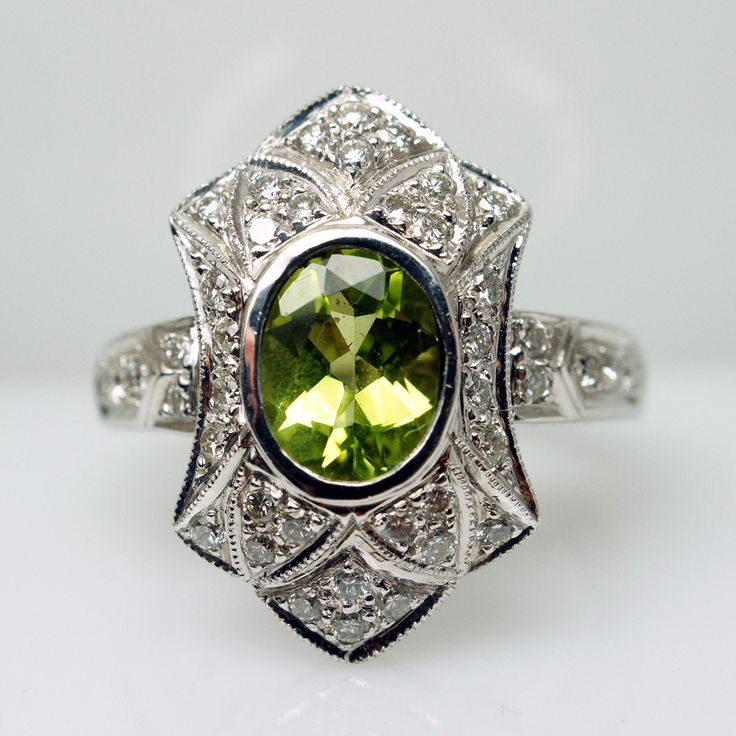 Vintage Art Deco Style Oval Peridot & Diamond 14k White Gold Diamond Ring - Size 6.25