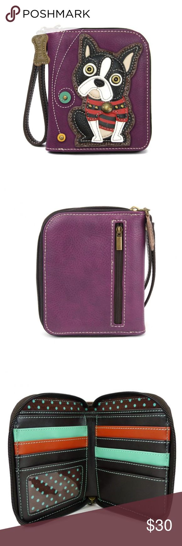 """NWT DOG Boston Terrier - Zip Around Wallet DOG Boston Terrier - Zip Around Wallet  Stylish, Fun, Functional  The front is adorned with a cute Boston Terrier character! Comes with a bone zipper charm and zipper pull Lots of slots for your cards and cash One clear slot for Photo ID Back zipper pocket for coins!  Materials: Faux Leather Color: Purple Dimensions: 5"""" x 6"""" x 1""""  Designed in California Chala Bags Wallets"""