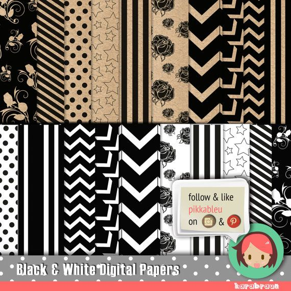 Black & White modern-vintage digital paper, scrapbooking, party supplies, invitations, chevron, polka dots, stripes, yellow, purple [SC-017]