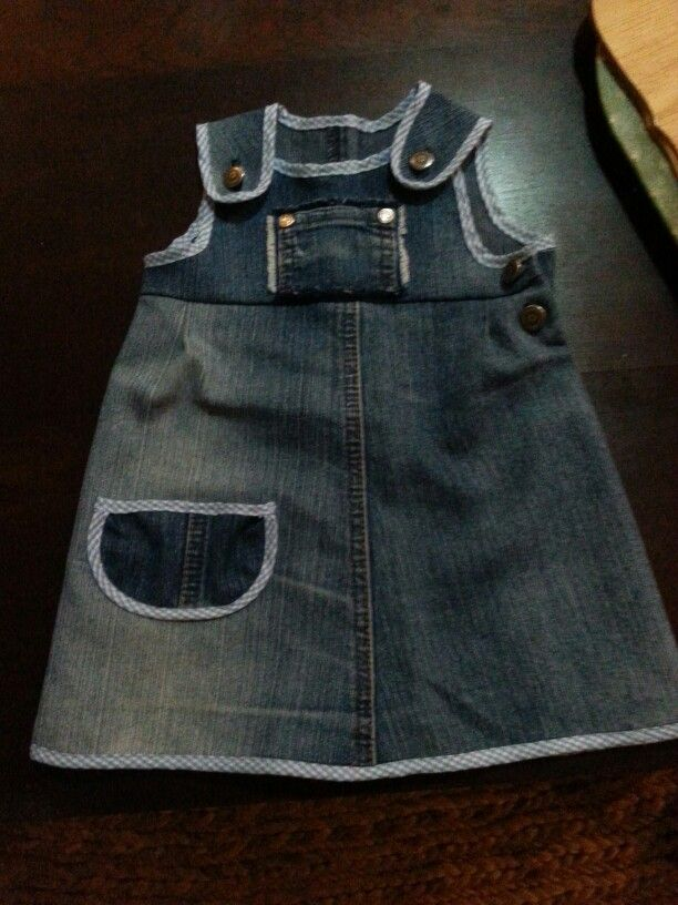 Up-cycled jean. Old jean into a garment for a baby girl