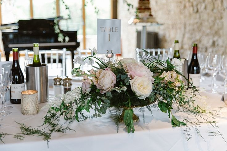 Top Table Display at Motley Abbey with gold and blush.  Wild Orchid, photography by Natalie J Weddings