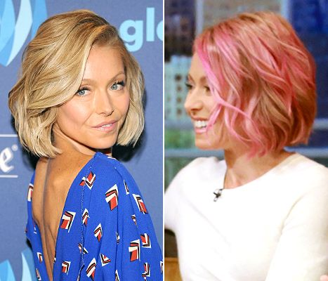 The usually blonde Kelly Ripa ditched her pink hair color for a bright, ocean-blue shade, which she revealed via Instagram on July 8.
