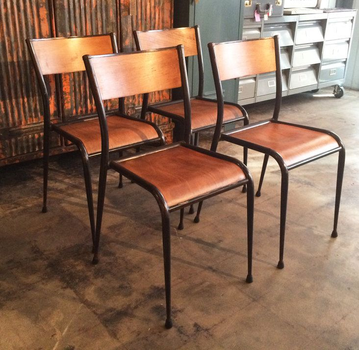 French Vintage Industrial Factory Chairs