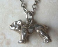 Vintage Quirky Bull Dog Pendant And Necklace.
