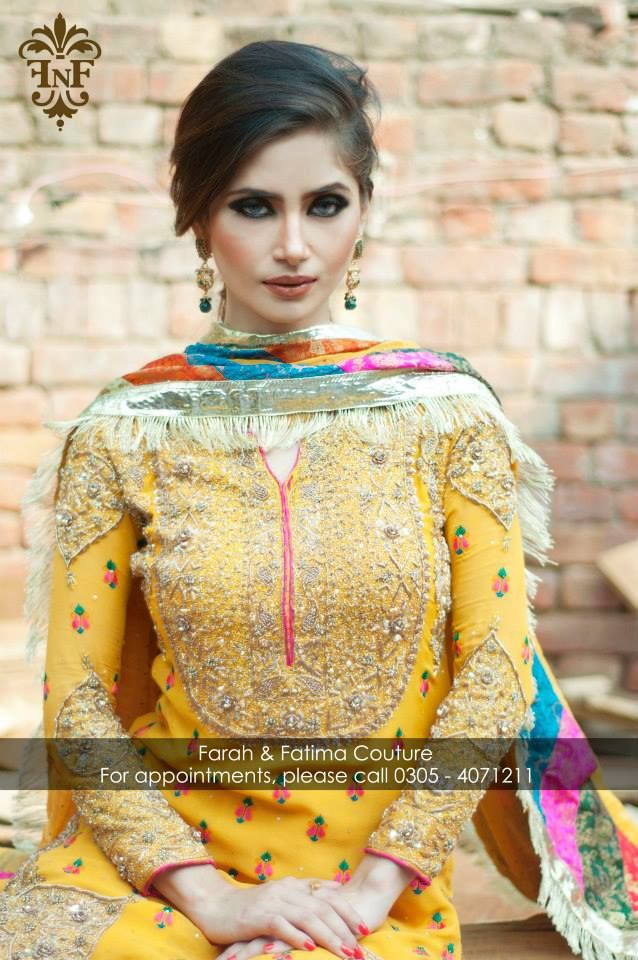 Gorgeous Winter Collection by Faarah & Fatima. Yellow suit with gold embroidery. Multicolor dupatta.