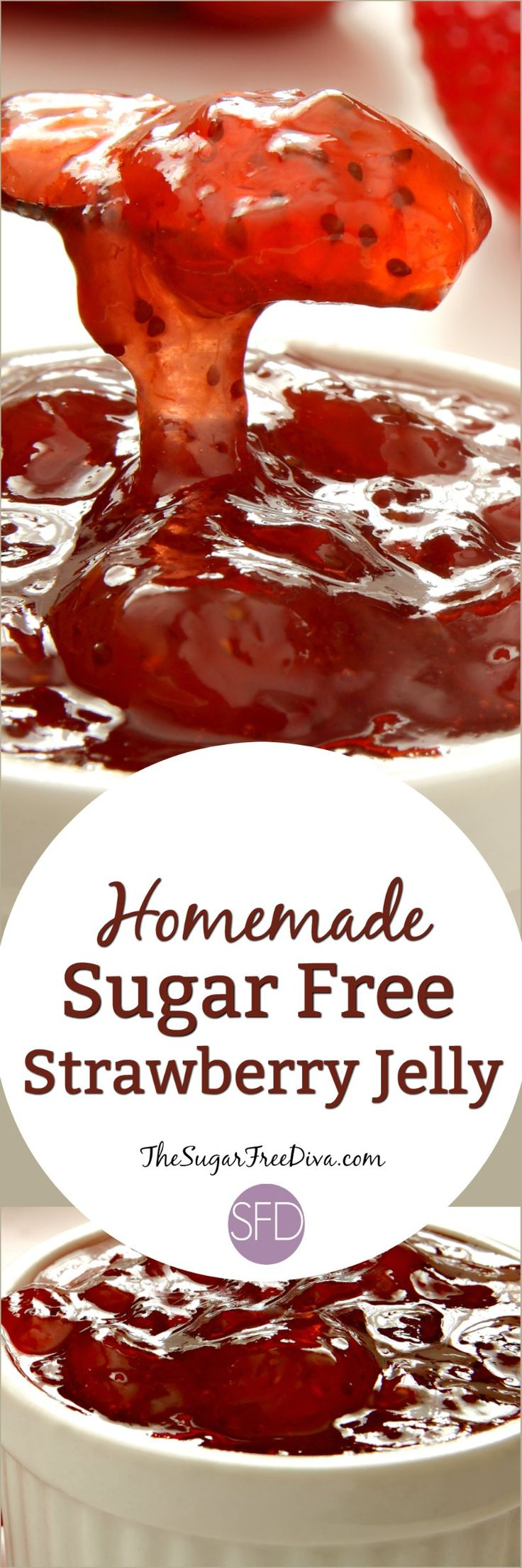 Homemade Sugar Free Strawberry Jelly- wow this recipe is so easy to make and it is sugar free!!