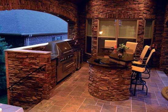 Built in grill and separate island brick pavilion and for Outdoor stone kitchen designs