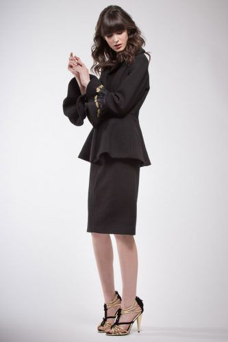 Black crepe pure wool tailleur with black and gold feathers on the sleeves