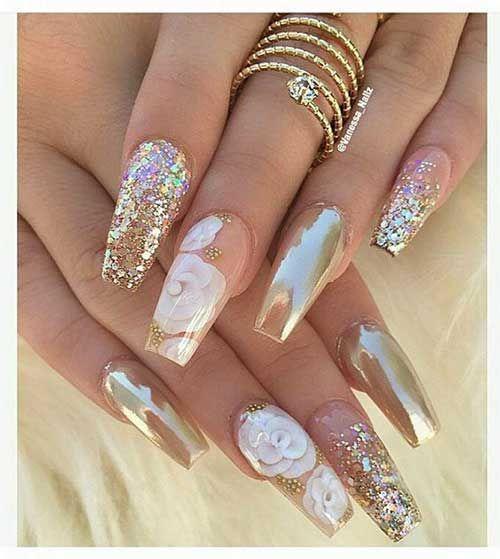 Golden Base Nail Colors and Designs, Golden Nail Designs-17, Nail Design #hai … – Madame Frisuren