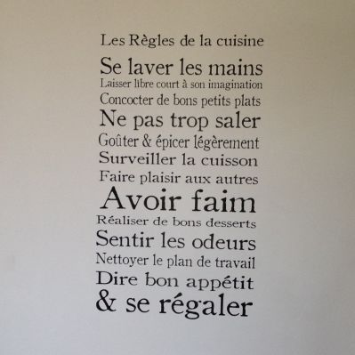 Sticker mural Règles de la cuisine