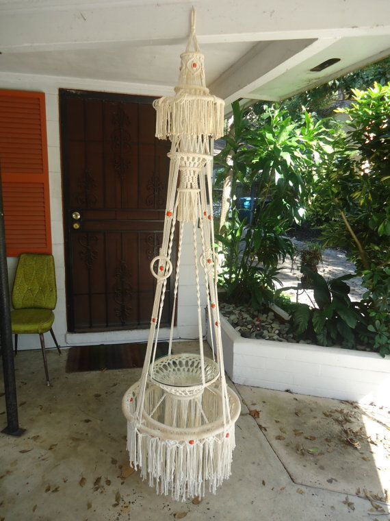 Vintage Macrame Plant Hanger Glass Shelf Ivory by