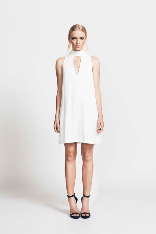 Ruby Sees All Seeker Of Truth White Cocktail Work Wear Tie Back Dress RRP $159