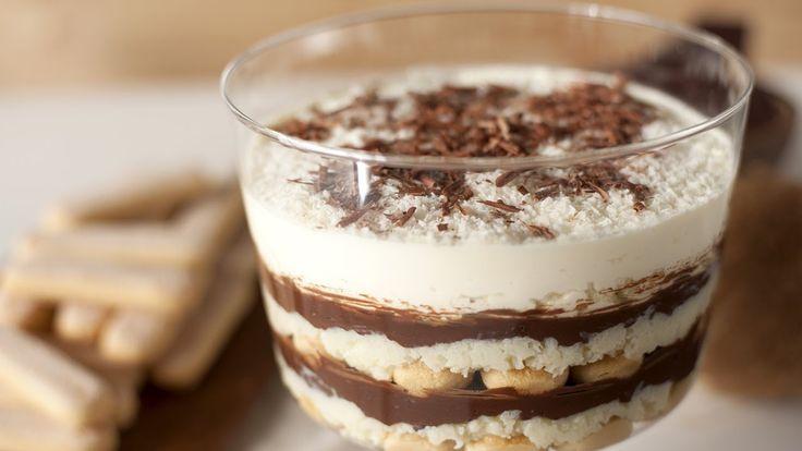 Trifle van chocolade en kokos - laagjesdessert