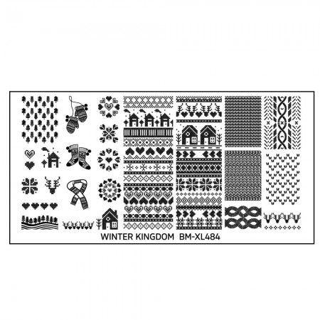 Winter Kingdom Nail Art Polish Stamping Plate - Knitted