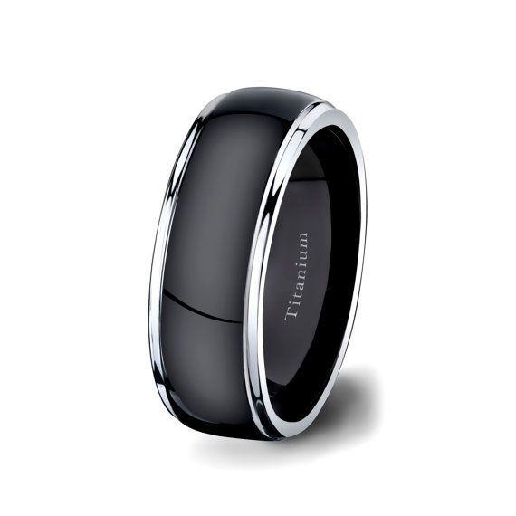 mens wedding band black titanium ring 8mm dark by tungstenomega