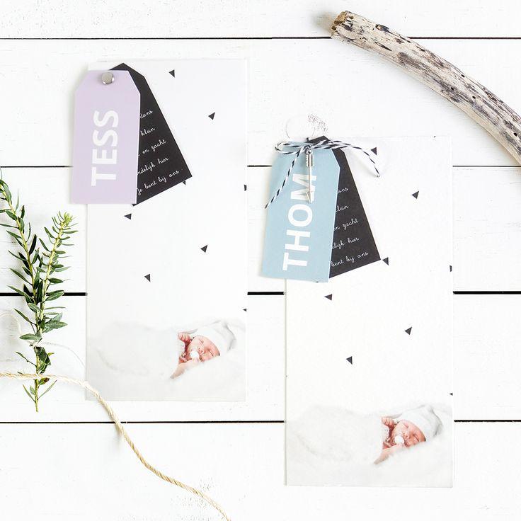 Geboortekaartje met labels - Tess en Thom - 10x21 kaart met twee labeltjes - bind samen met bijv. een splitpen of een leuk touwtje (en evt nog een klein bedeltje) - grafisch - zwart/wit