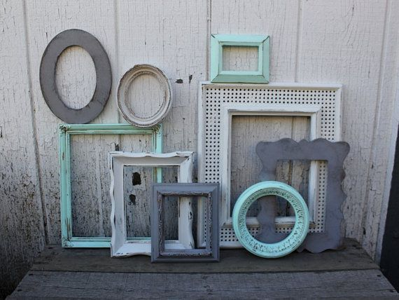 Set of 9 Open Picture Frames - Open Frame Gallery - White, Aqua Blue/Mint, & Grey - Ornate frames - Mint Decor - Nursery - Aqua Frame